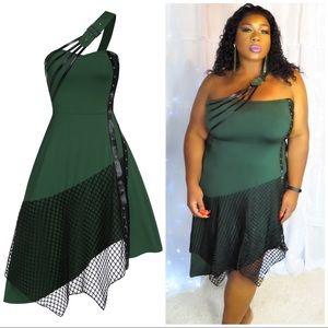 Plus Size Green + Black Fish Net Dress
